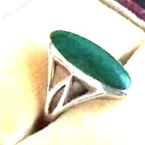 VINTAGE Kabana Sterling Silver Malachite Ring